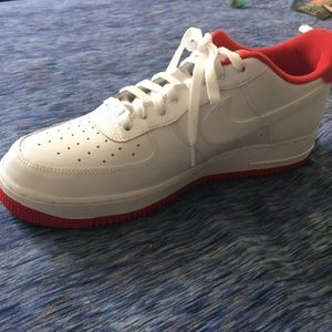 Air Force 1s white wit red bottom sz 11.5